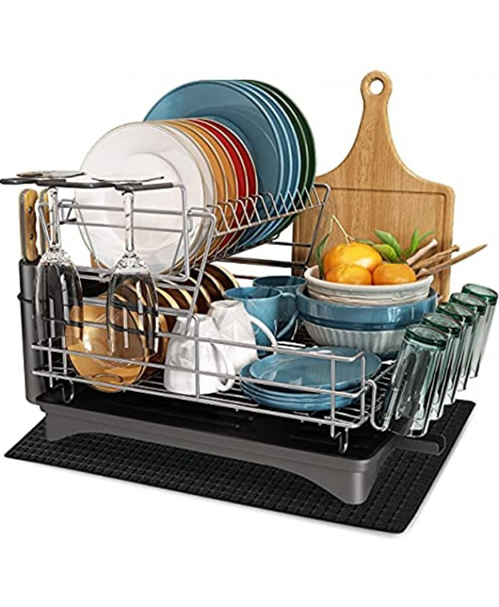 Dish Drying Rack MICOCAH 2 Tier Large Dish Rack and Drainboard Set with Swivel Spout Fully Customizable Dish Drainer for Kitchen Counter with Utensil Holder Cutting Board Holder Wine Glasses Rack