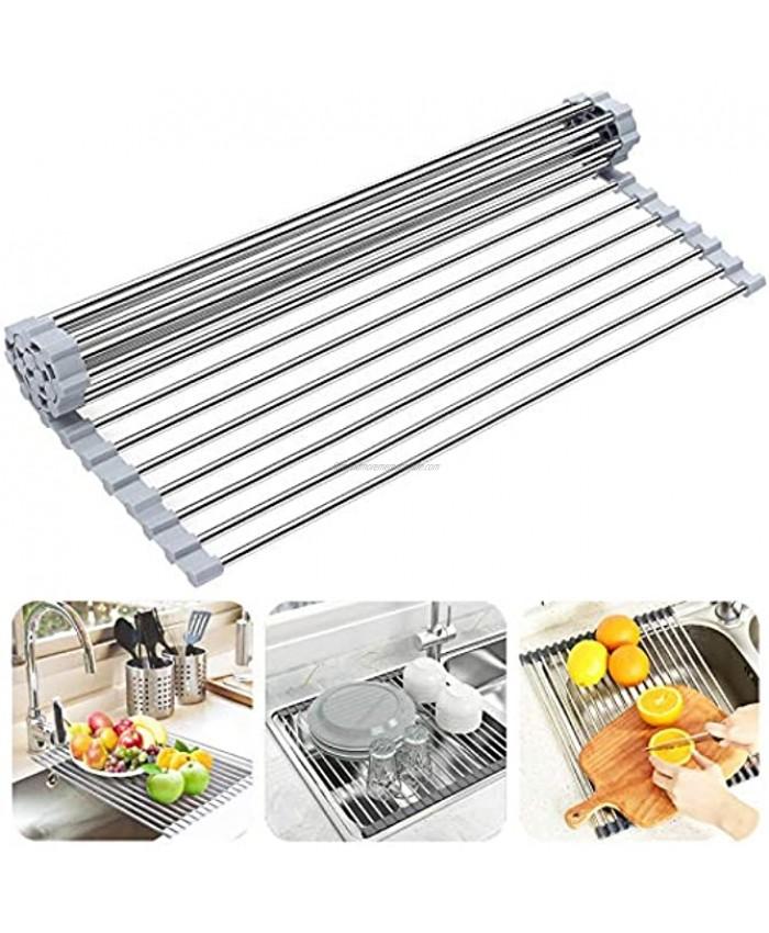 "Over The Sink Dish Drying Rack Searik Roll up Sink Dish Drainer Rack Multipurpose Foldable Kitchen Stainless Steel Dish Rack Sink Drying Rack 17.7"" x 11.8"""