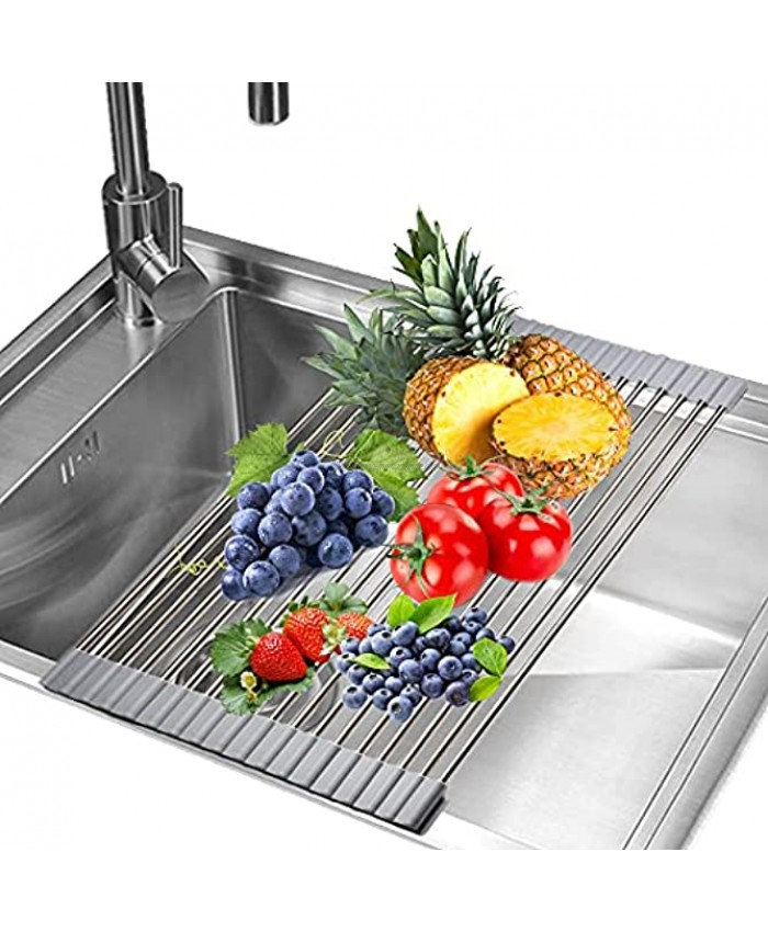 RENOOK Roll up Dish Drying Rack Stainless Steel Drainer for Kitchen Over The Sink Foldable Drying Rack Multipurpose for Fruits Vegetables Grey 17.7 x 11.1