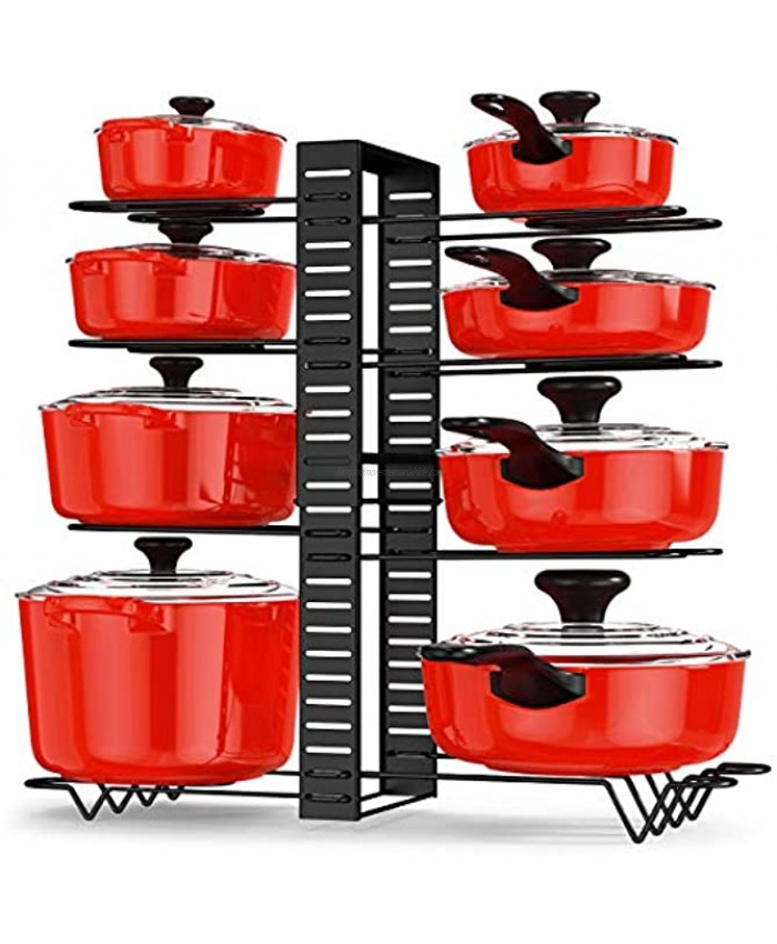 Pot and Pan Organizer Rack for Cabinet Adjustable 8 Tiers Pans Pots Lid Organizer Rack Holder Kitchen Cabinet Cookware Pantry Countertop Bakeware Organizer Rack Holder with 6 DIY Methods