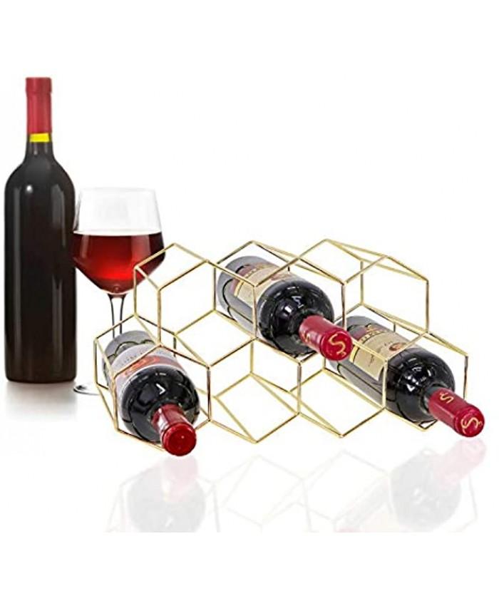 9 Bottle Metal Wine Rack Tabletop Freestanding Wine Rack Countertop Wine Storage Holder Gold