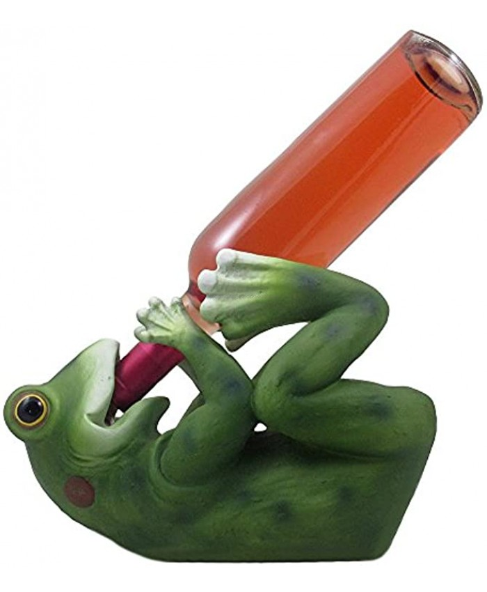 Decorative Drinking Frog Wine Bottle Holder Sculpture in Figurines and Statues As Bar or Tabletop Wine Racks & Stands or Whimsical Gifts for Wine Lovers