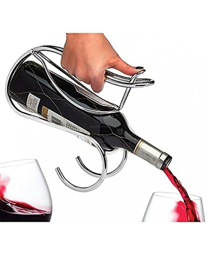 Godinger Wine Holder and Pourer Wine Rack Bottle Storage Silver