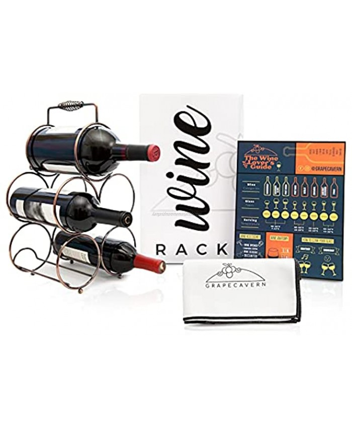 Grapecavern Countertop Wine Rack 5 Bottle Wine Holder Stand w  2 Slot Sizes Bundle Includes Tabletop Wine Rack Microfiber Glassware Polishing Cloth & Wine Guide Chart No Assembly Required
