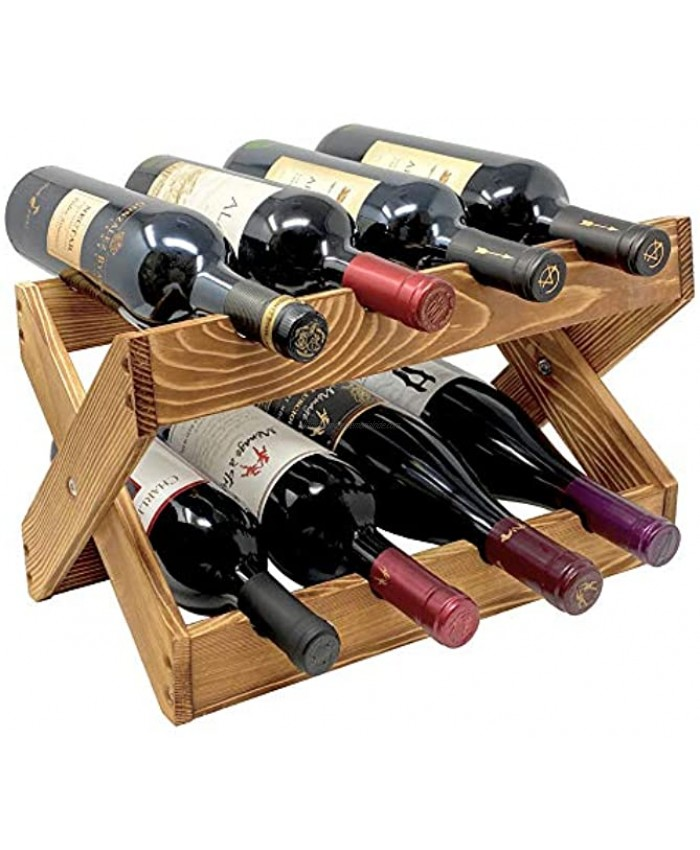 TheBarsentials Wine Rack 8 Bottle Holder Foldable for Countertop Tabletop Storage Cabinets Pantry Kitchen and Bars in Rustic Wood