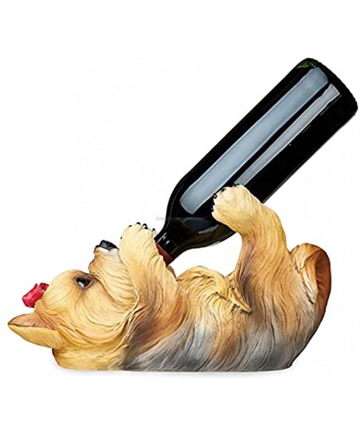 True Yorkie Polyresin Wine Bottle Holder Set of 1 Brown Holds 1 Standard Wine Bottle