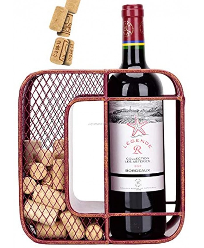Unique Home Shaped-O Wine Rack with Wine Cork Holder,Wine Bottle Holder-Cork Storage-Storage Rack for Home & Kitchen Decor