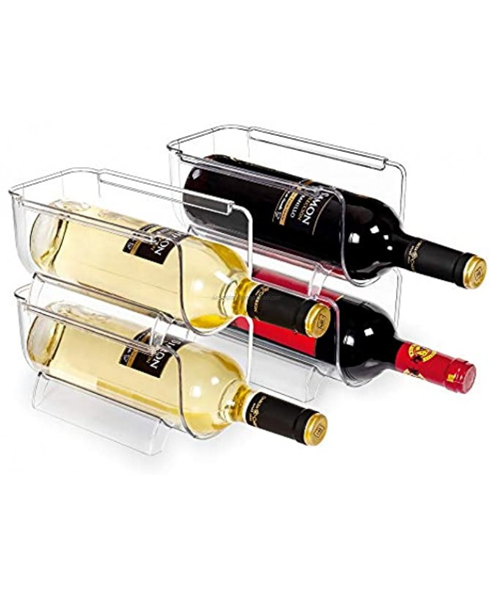 Vtopmart Refrigerator Wine and Water Bottle Holder 4Pack Stackable Plastic Wine Rack Storage Organizer for Fridge Cabinet Pantry Kitchen Countertops Clear