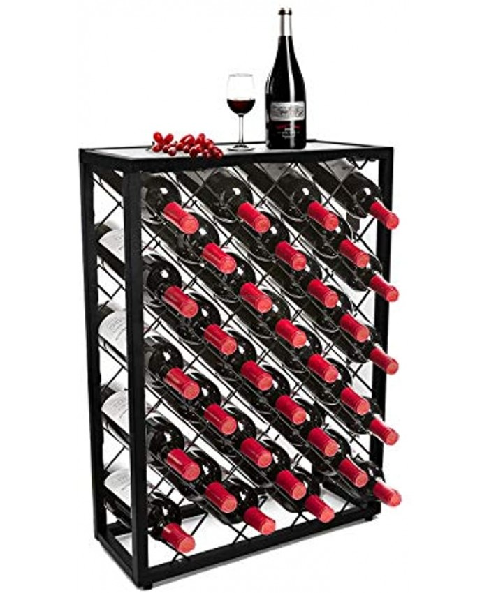 32 Bottles Wine Rack Stand with Glass Table Top Black Industrial Wine Bar Cabinet with Storage Stable Metal Frame Bar Carts Holder