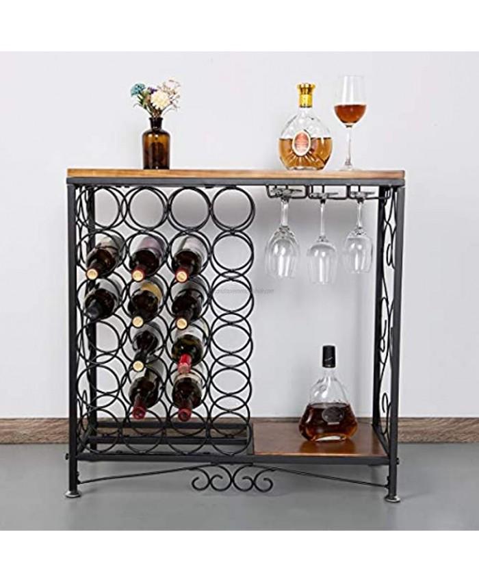 BENOSS Vintage Wine Glass Holder 24 Bottles Industrial Wine Storage Organizer Display Rack Vintage Wine Glass Holder Freestanding Wine Rack Table Bar Wine Cabinet for Kitchen