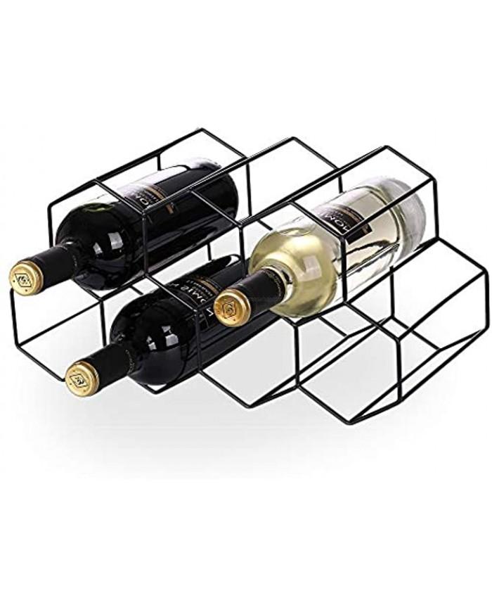 STRAWBLEAG Metal Wine Rack 9 Bottles Countertop Free Standing Metal Tabletop Wine Holder Geometric Design Wine Bottles Storage Stand Black