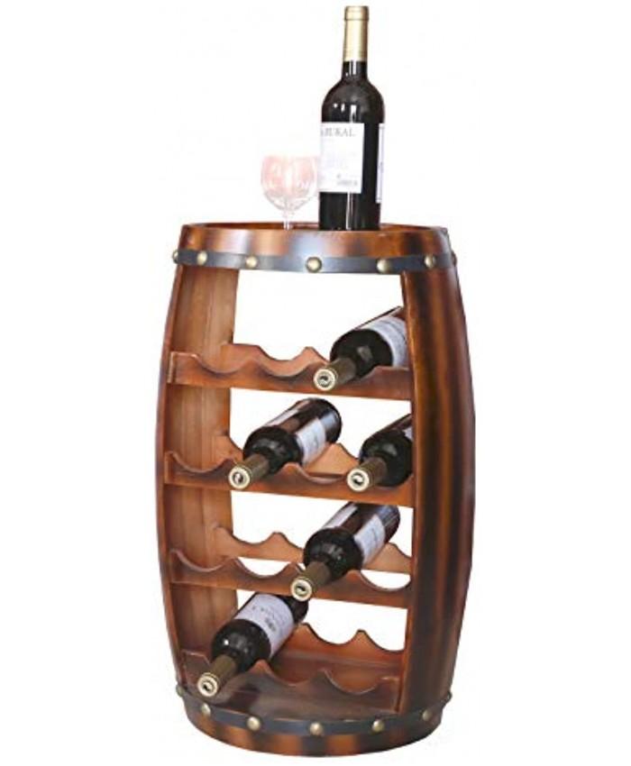 Vintiquewise Wooden Barrel Shaped 14 Bottle Wine Rack