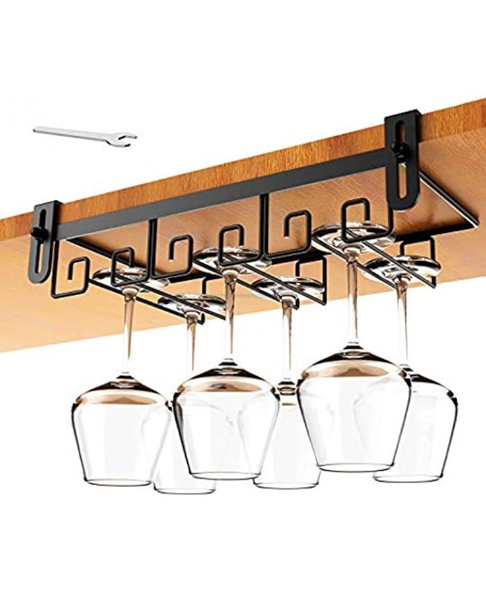Hanging Wine Glass Rack Under Cabinet Mount Metal Wine Glass Storage Hanger Under Shelf Wine Glasses Rack Black Stemware Holder Rack Under Cabinet Wine Glass Holder Kitchen Under Shelf Storage