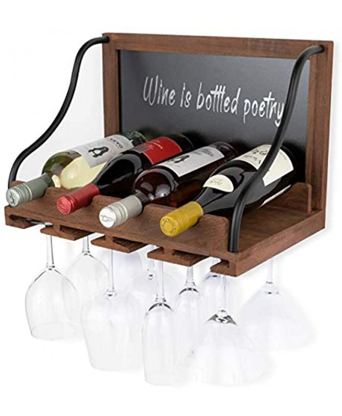 BGT Colmar Wall Wine Rack Wine Glass Holder & Bottle Rack with Chalk Board Sign 4 Bottles Wine Storage Rustic Wall Décor Wood Walnut