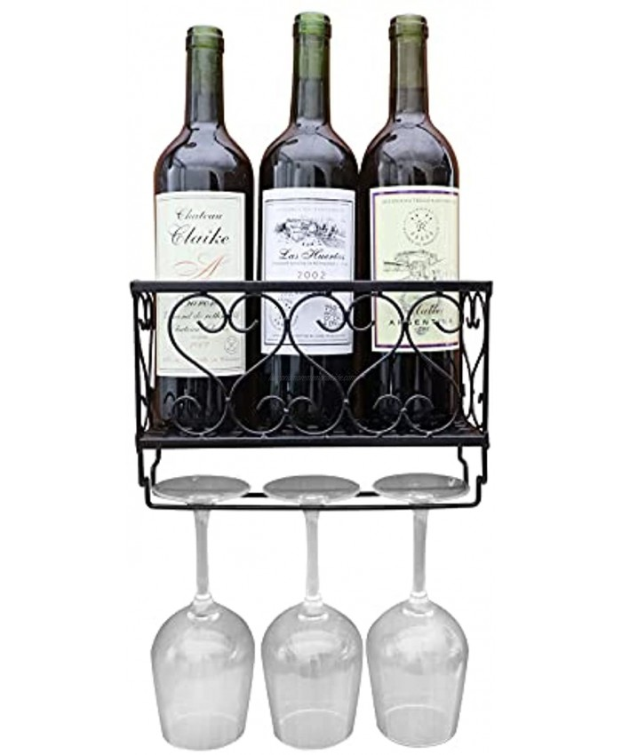 CNNINGYI Home Wall-Mounted Wine Rack,Wall Mounted Metal Wine Bottle & Glass Holder,Wine Bottle Storage with 3 Glass Holders for Home Home & Kitchen Decor,Decorative Wall Wine Rack Black