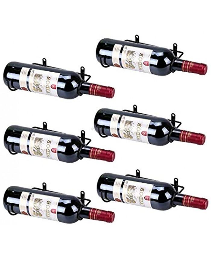 Hipiwe Set of 6 Wall Mounted Wine Rack Holders Metal Wine Bottle Display Holder with Hardware Wall Hanging Red Wine Bottle Organizer Racks for Storage Beverages Liquor Bottle