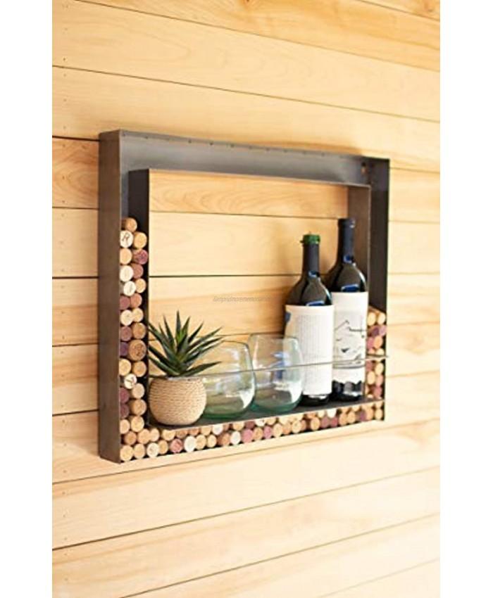Kalalou CQ7493 Metal Wall Bar and Wine Cork Holder