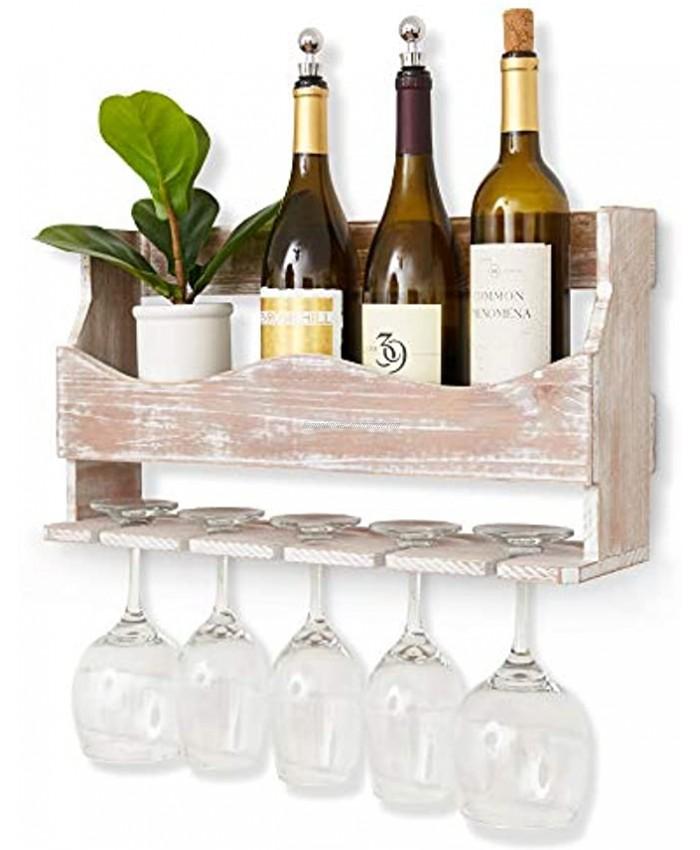 Ten Petals Mounted Rustic Wine Rack Cedar-Wood Floating Kitchen Wine Storage Farmhouse Bar Area Housewarming Gift White