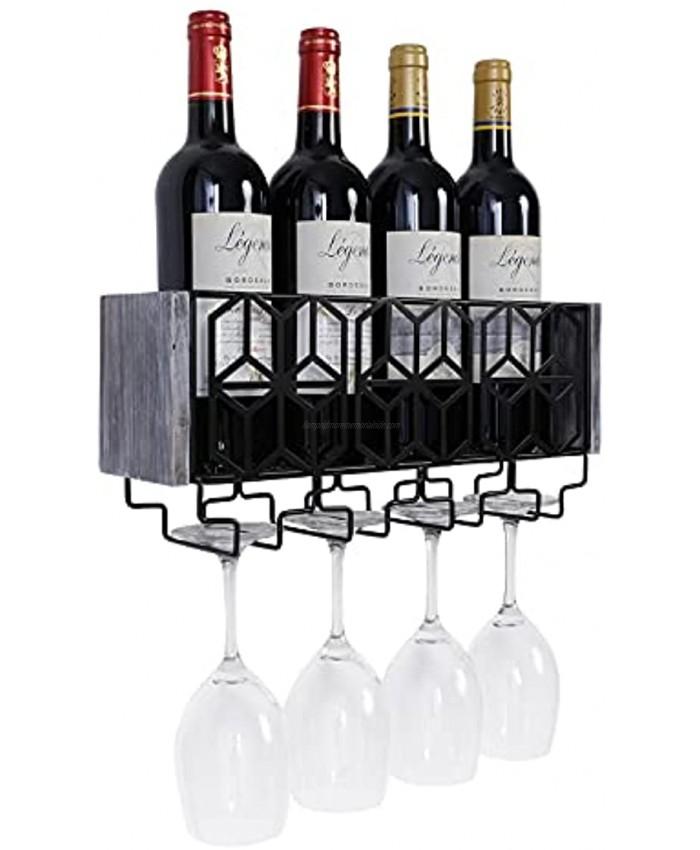 Tigcent Wall Mounted Wine Rack Rustic Wine Bottle Storage Organizer Rack Wine Holder with Stemware Hanger Wine Display Storage Holder for Kitchen Dining Room Bar