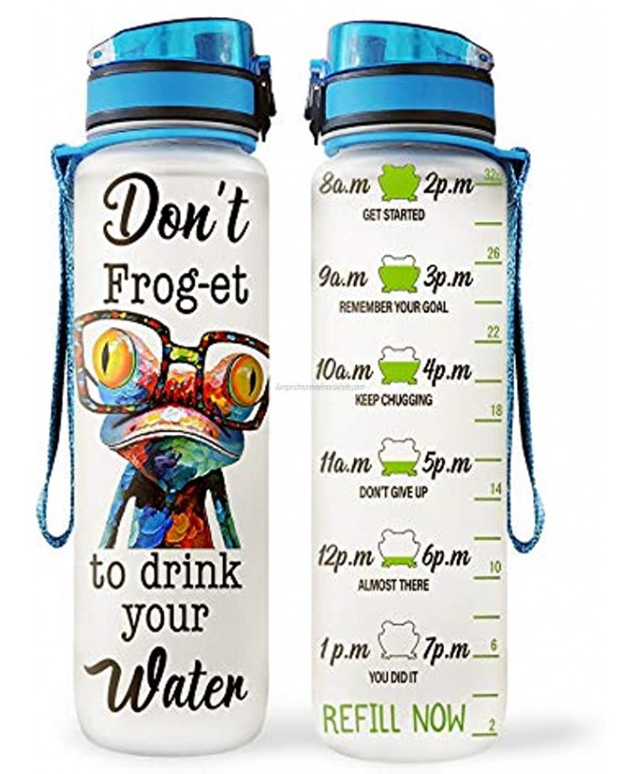 64HYDRO 32oz 1Liter Motivational Water Bottle with Time Marker Frog Inspiration Don't Frog-et to Drink Your Water HNP0402019 Water Bottle