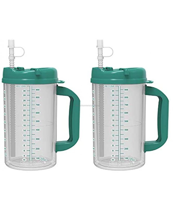 32 oz Double Wall Insulated Hospital Mug Cold Drink Mug Large Carry Handle Includes Straw 2 Teal