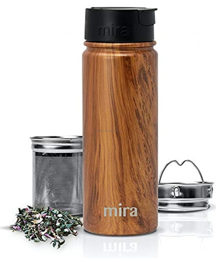 MIRA Stainless Steel Insulated Tea Infuser Bottle for Loose Tea Thermos Travel Mug with Removable Tea Infuser Strainer Wood 18 oz