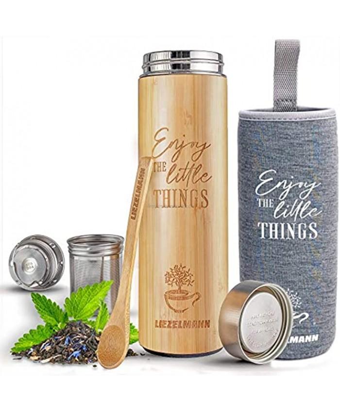 NEW Original Bamboo Tea Infuser Bottle with Tea Strainer | Leak-proof Lid. 17oz Tea Tumbler Tea Infuser Tumbler & Travel mug | Vacuum Insulated bamboo tumbler | Tea Gifts for Tea Lovers Women