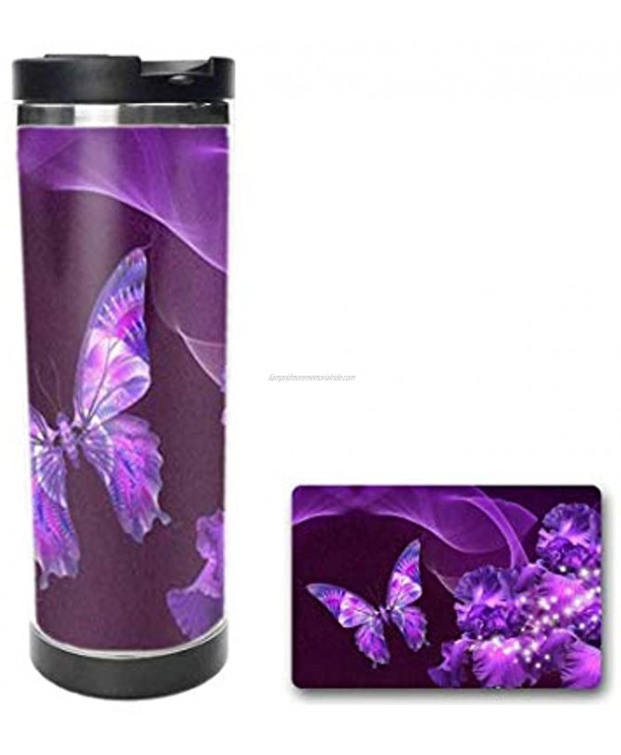 Purple Butterfly and Flower Drinking Cup Coffee Mug,Travel Mug,Thermos Cup,Creative Cup 14oz