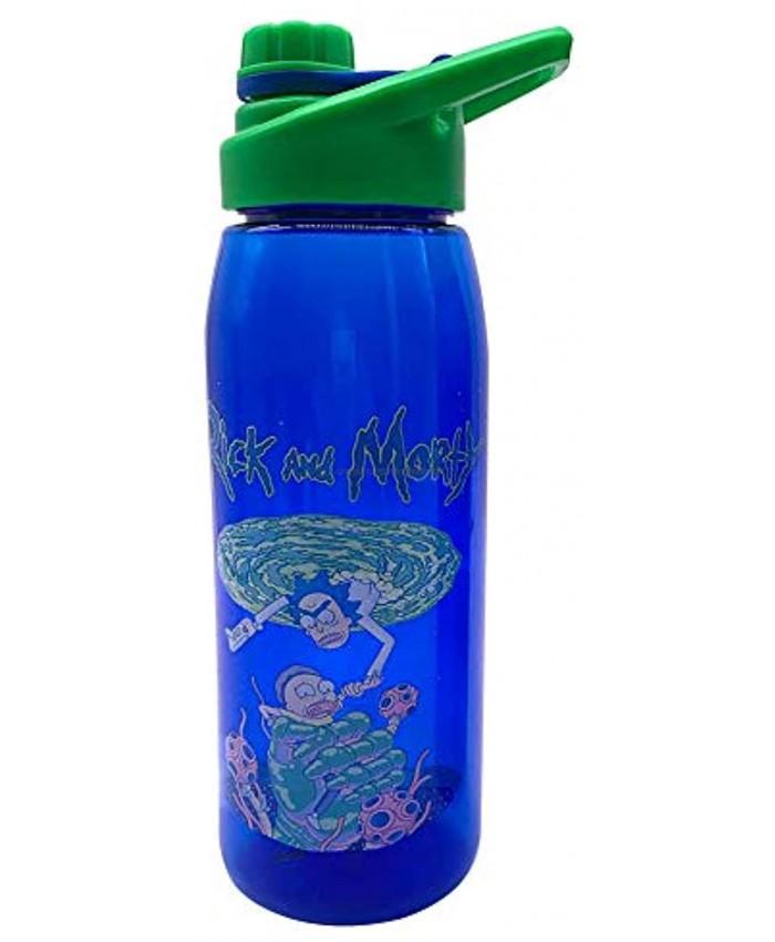 Silver Buffalo Rick and Morty Portal Grab Screw Lid Tritan Water Bottle 28-Ounce Blue