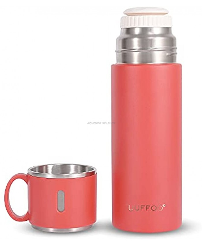 Stainless Steel Thermal Flask Travel Coffee Mug 420ml Double Walled Vacuum Insulated Water Bottles with Handle Leakproof Lid Keep Drinks Hot or Cold Up to 12 Hours for Work Gym Travelred