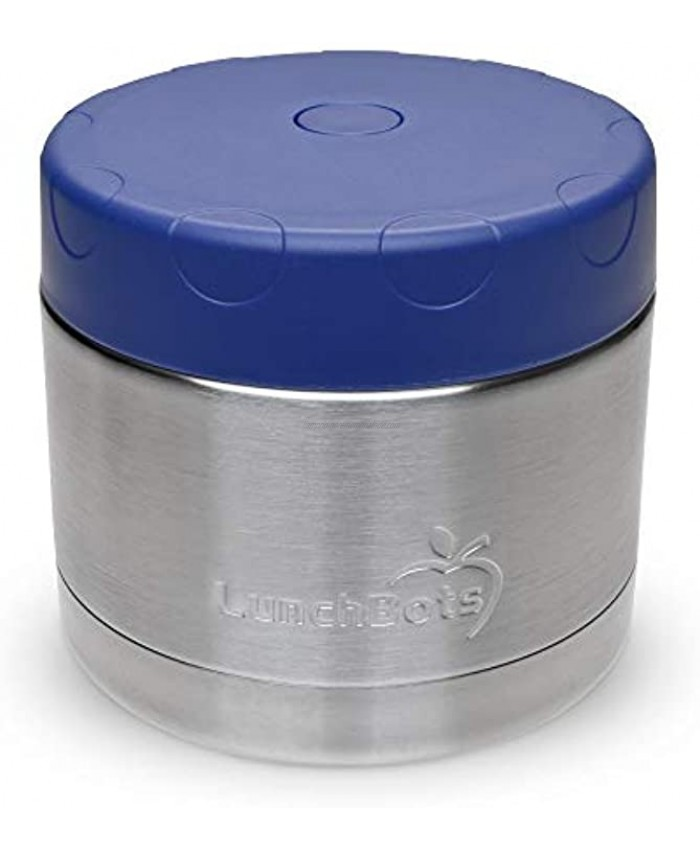 LunchBots 12oz Thermos Stainless Steel Wide Mouth Insulated Container With Vented Lid Keeps Food Hot or Cold for Hours Leak-Proof Portable Thermal Food Jar is Ideal for Soup 12 ounce Navy