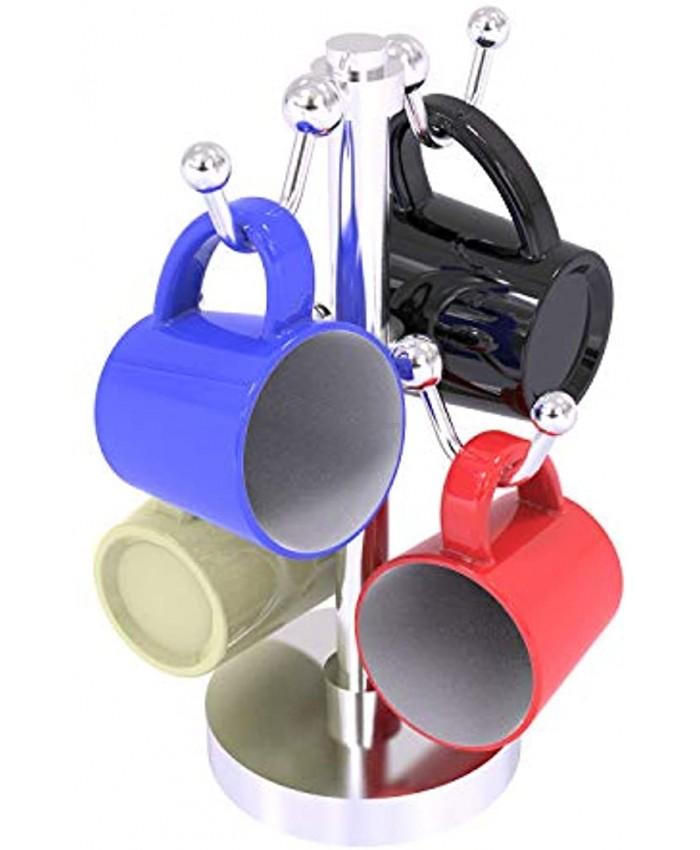 Allied Brass Countertop 4 Coffee Mug Holder Satin Chrome