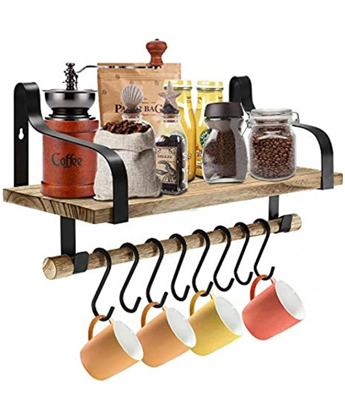 Coffee Mug Holder Wall Mounted Coffee Mug Rack Rustic Wood Cup Organizer with 8 Hooks Floating Shelves for Organize Kitchen Bathroom Utensil Spice Rack with Towel Bar