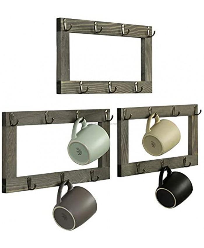 MyGift 21 Hook Wall Mounted Rustic Gray Wood Coffee Mug Hanging Storage Racks Tea Cup Holder Set of 3