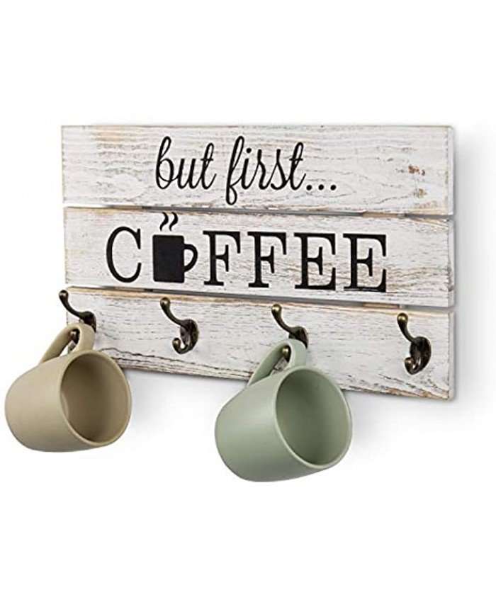 MyGift 8-Hook Vintage Whitewashed Solid Wood Mug Storage Rack Wall Mounted Decorative Sign with But First Coffee Quote Design