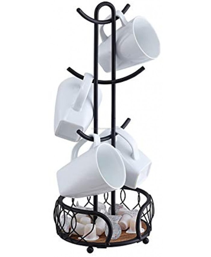 SunnyPoint Heavy Wire Gauge 6 Mug Tree Countertop Holder Coffee Mugs and Tea Cup Storage Rack with Small Storage Area Mat Black 18.2 x 7 x 7 Inch