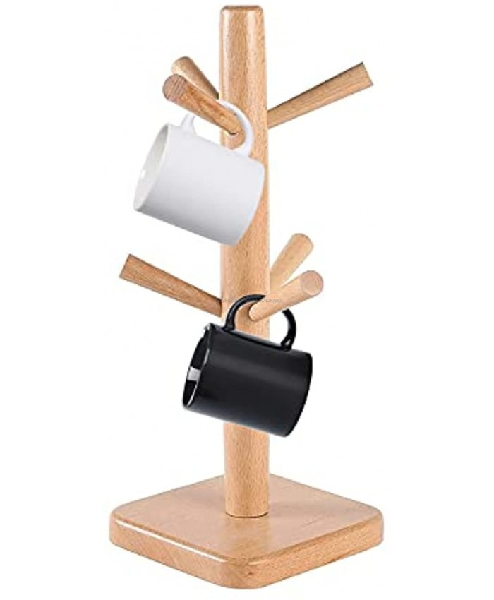 YCOCO Wood Mug Rack Tree,Coffee Cup Holder Stand with 6 Hooks,Coffee Mug Stand for Kitchen Counter,Tea Cups Holder Stand