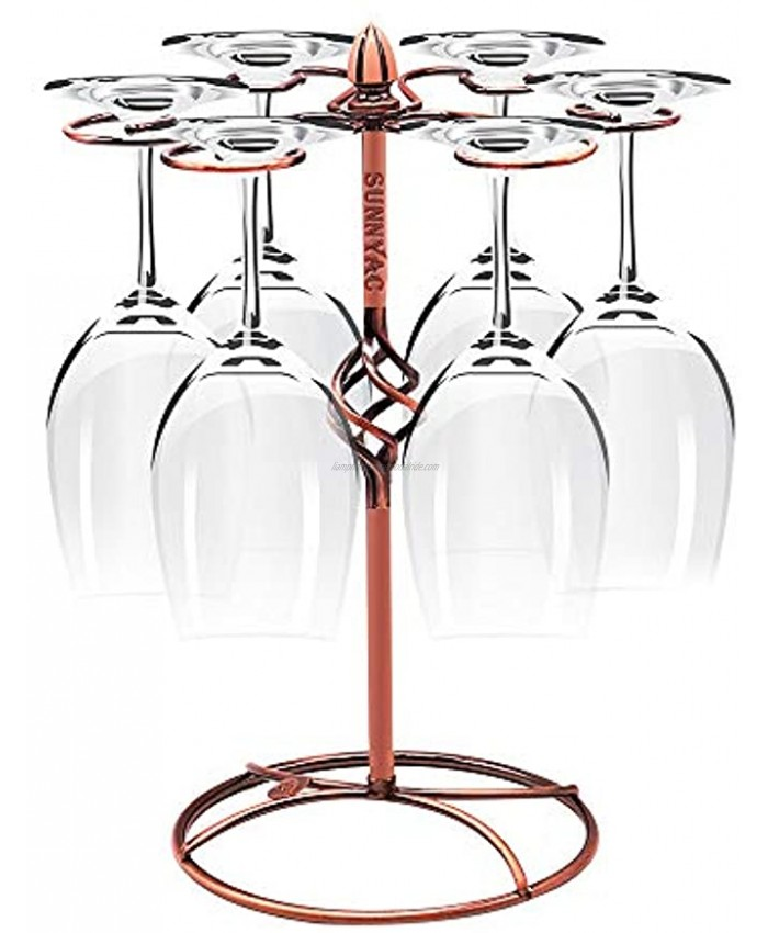 Sunnyac Scrollwork Bronze Wine Glass Rack Elegant Freestanding Stemware Holder Stand With 6 Hooks for Home and Bar Storage and Artistic Tabletop Display Spiral Style Bronze 1