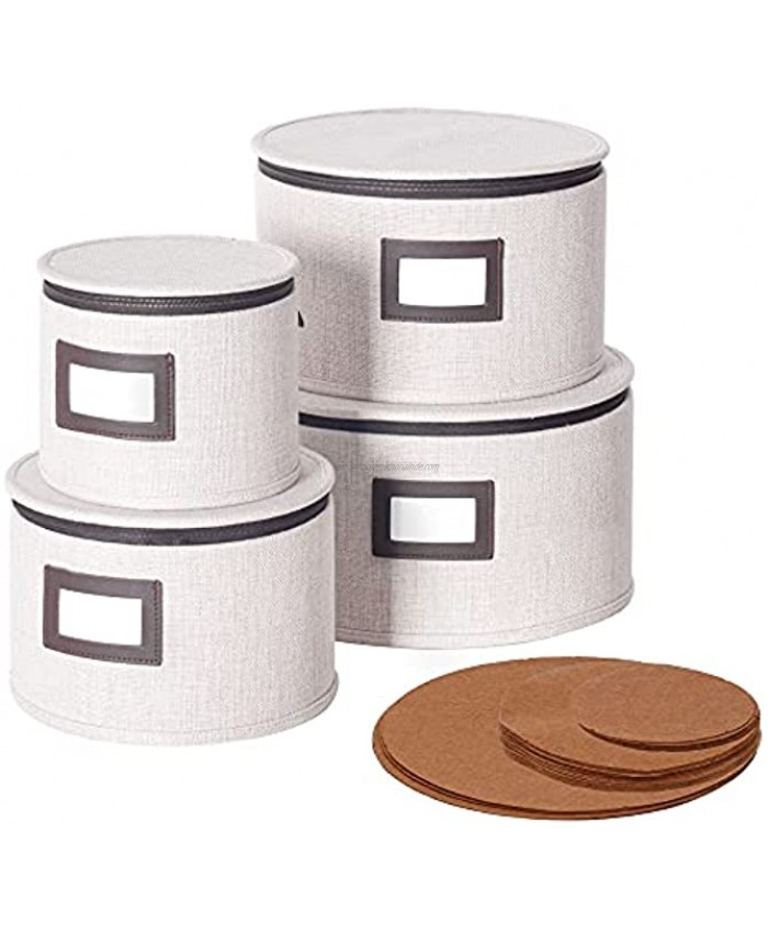 China Dinnerware Storage Containers Set of 4 for Plate Storage and Transport Protects Dishes Comes with Felt Plate Separators