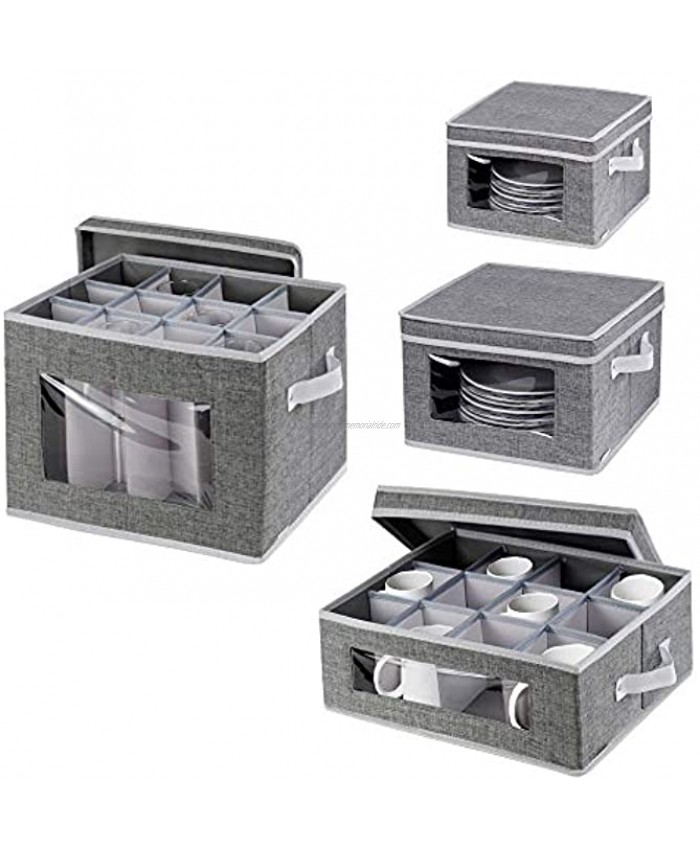 China Dinnerware Storage Containers Set Stackable Stemware Storage Box,Mugs and Dishes Organizer Chest with Lid and Clear Windows,Polyester fabric with Felt Plate Dividers,Set of 4 Grey