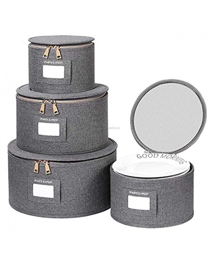 IPARTS EXPERT China Storage Set 4-Piece Set for Dinnerware Storage and Transport Protects Dishes Felt Plate Dividers Included Grey Plates Only