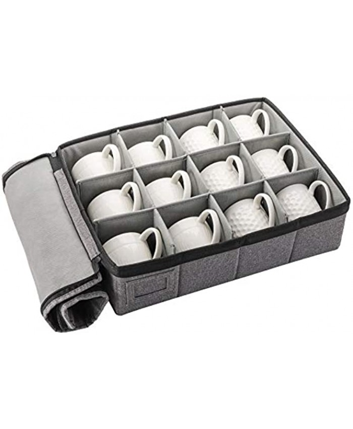 TOPZEA Cup and Mug Storage Box China Cup Storage Box with Lid and Handles Holds 12 Coffee Mugs and Tea Cups Moving Boxes for Mugs and Cups Fully-Padded Inside Hard Shell and Stackable Grey
