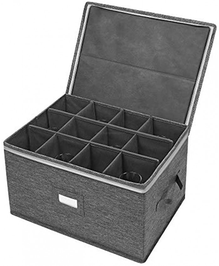 Wine Glass Storage Box Container with Divider Moving Boxes for Wine Glasses Case with Lid and Handles Holds 12 Red or White Wine Glasses Hard Shell and Stackable Grey