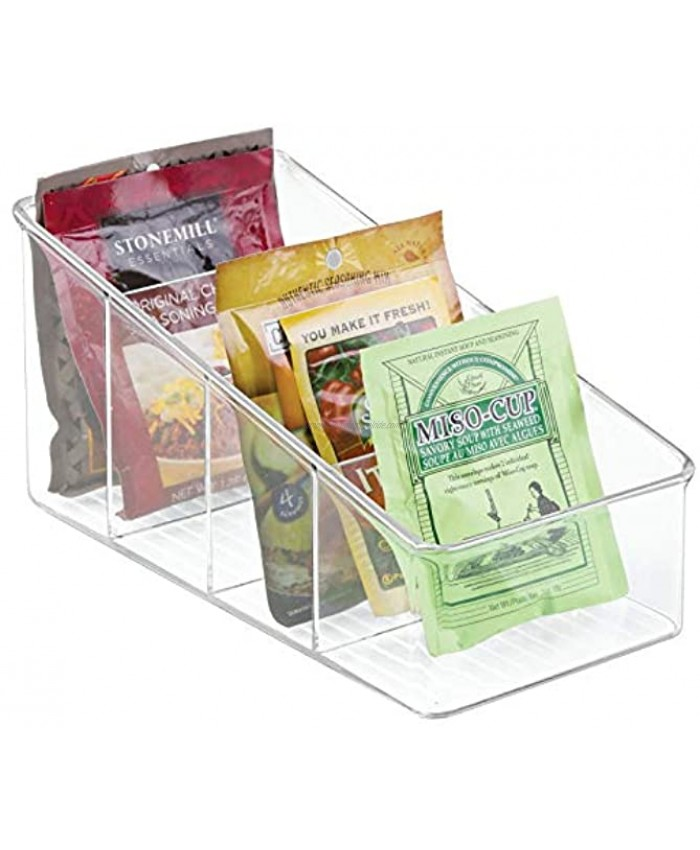 mDesign Large Plastic Food Packet Organizer Caddy for Fridge or Freezer- Storage for Kitchen Pantry Cabinet Countertop Spice Pouches Dressing Mixes Hot Chocolate Rice Taco Seasoning Clear