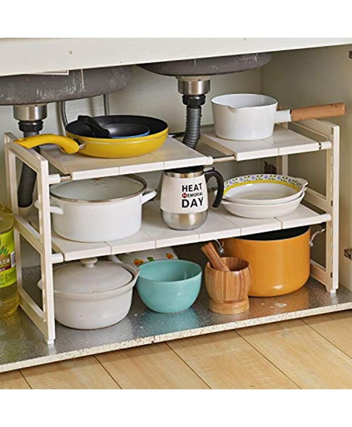OBOR Expandable Under Sink Organizer 2 Tier Multifunctional Storage Rack with Removable Shelves and Steel Pipes for Kitchen Bathroom and Garden