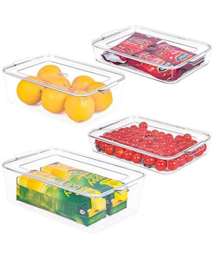 Refrigerator Organizer Bins with Lids 4 Piece Fridge Organizers and Storage Clear Bins Kitchen Storage Bins for Pantry Cabinet Fridge Freezer BPA Free2 Large & 2 Small