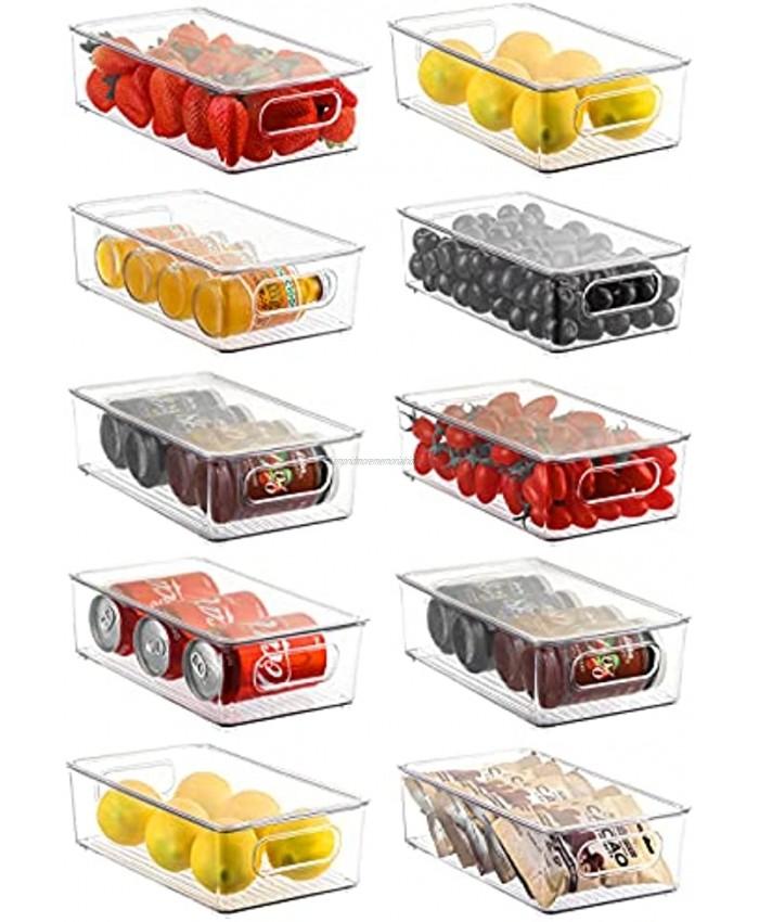 Refrigerator Organizer Bins with Lids ESARORA 10 PACK Stackable Clear Fridge Bins with Handles For Fridge Freezer Kitchen Cabinet Pantry Organization BPA Free Freezer Organizer Bins