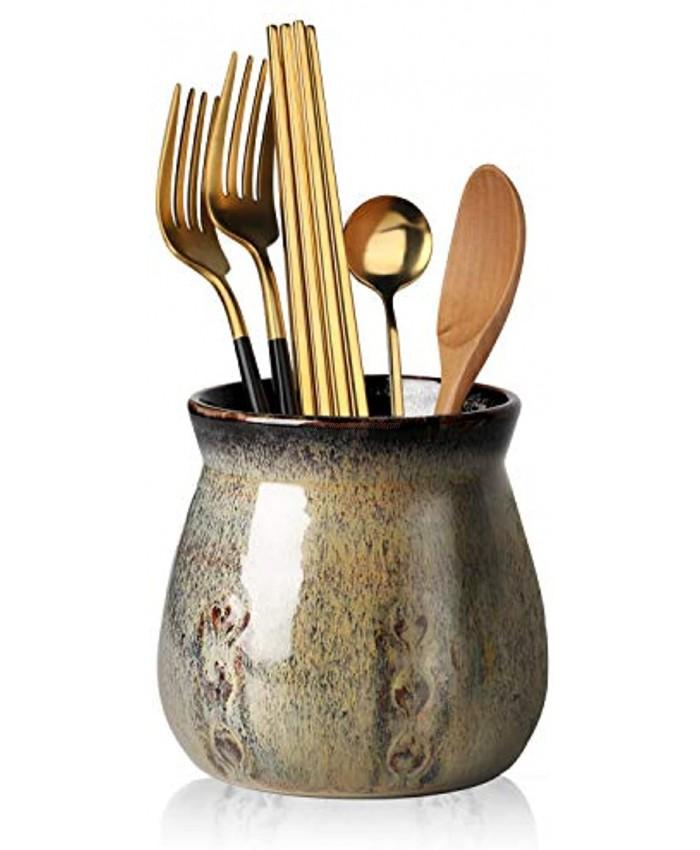 Ceramic Utensil Holder,Porcelain Utensil Crock Easy to Clean 30ozGradient Gray