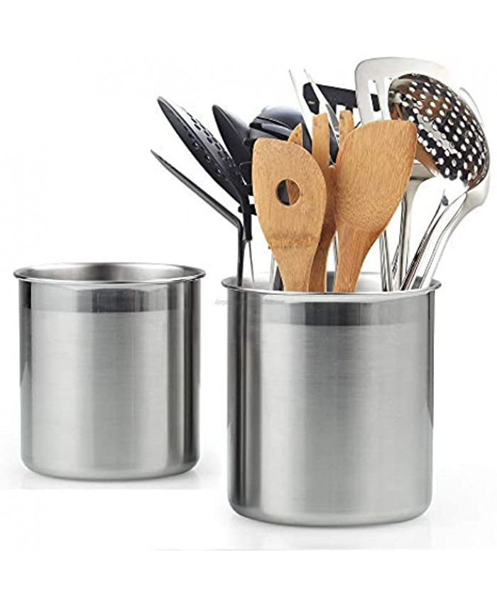 Cook N Home Stainless Steel Utensil Holder Jumbo 2PC set 5.5-inch x 6.3-inch and 6.3-inch x 7.08-inch Silver