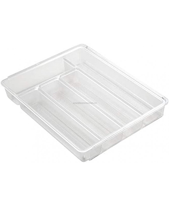 iDesign Linus Expandable Kitchen Drawer Organizer for Silverware Spatulas Gadgets Clear